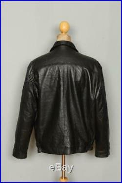 Vtg LEVIS Black Highwayman Leather Motorcycle Sports Jacket Size Large