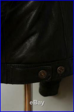 Vtg LEVIS Leather Western Motorcycle Trucker Jacket Medium/Large