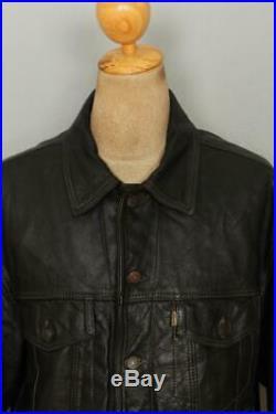 Vtg LEVIS Leather Western Motorcycle Trucker Jacket XLarge