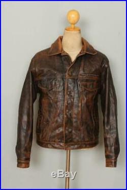 Vtg LEVIS Longhorn Leather Western Motorcycle Trucker Jacket Medium