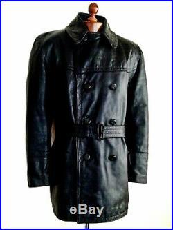 Vtg Leather 40s WW2 HORSEHIDE GERMAN LUFTWAFFE OFFICERS Biker Trench Jacket Coat