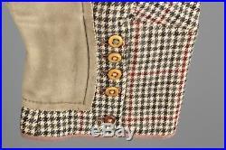 Vtg Men's 1910s 20s Houndstooth Equestrian Vest M Jodhpurs 35x20 Edwardian 5168A
