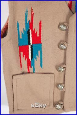 Vtg Mens Americraft Chimayo Wool Vest Jacket USA Ortegas Ganscraft USA 40