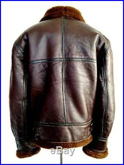 Vtg Mens leather B-3 SHEEPSKIN Shearling Flying Pilot Aviator Bomber Jacket Coat
