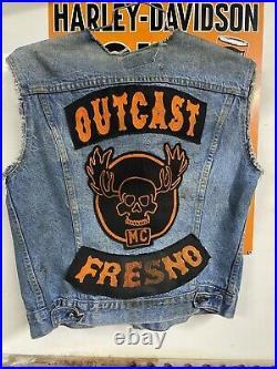 Vtg Motorcycle Club Vest -Outcast- Fresno- Levi