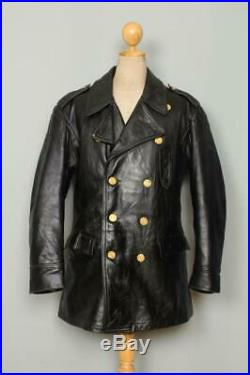 Vtg NEW HAVEN Police HORSEHIDE Leather Patrol Pea Coat Trench Jacket Large