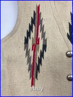 Vtg Ortegas 1940s 1950s Chimayo Wool Vest Vintage