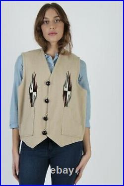 Vtg Ortegas Chimayo Vest Native American Southwestern Wool Blanket Hand Woven