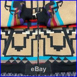 Vtg Pendleton Aztec Wool Bomber Jacket Full Zip Mens Small Navajo Western Wear