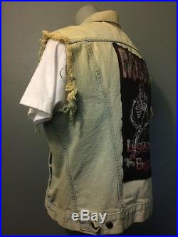 Vtg Punk Rock Levis Denim Vest DIY Misfits Shirt Biker Jean Jacket Mens Lg 80s L