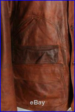 Vtg RALPH LAUREN Half Belt Sports Hunting Leather Jacket Large/XLarge