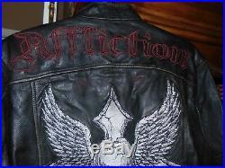 Vtg Retro Black Label Riding Moto AFFLICTION LIVE FIRST SKULL Leather Jacket MED