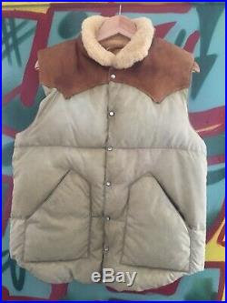 Vtg Rocky Mountain Featherbed Christy Vest Tan Shearling Collar Down Leather 42