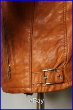 Vtg SCHOTT Brown CAFE RACER Leather Motorcycle Jacket Size 40