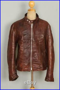 Vtg SCHOTT Brown Cafe Racer Leather Motorcycle Jacket Size XLarge
