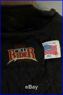 Vtg SCHOTT Cycle Rider Cafe Racer Leather Motorcycle Jacket Size 42
