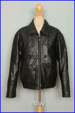 Vtg SCHOTT Highwayman Black Leather Sports Motorcycle Jacket Large