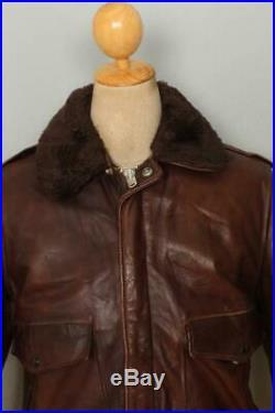 Vtg SCHOTT IS-674-MS A-2 Leather Flight Motorcycle Jacket Fleece Lining 38
