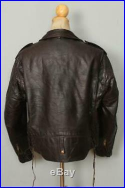 Vtg SCHOTT PERFECTO 115 Cowhide Leather CHP Motorcycle Jacket Size 46