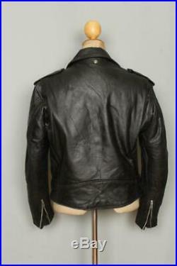 Vtg SCHOTT PERFECTO Black Leather Motorcycle Jacket Size 38/40