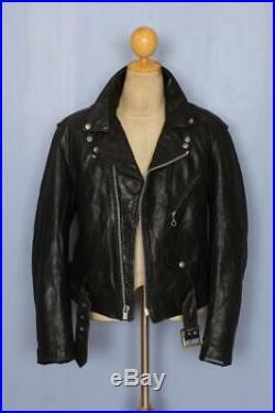 Vtg SCHOTT PERFECTO Black Leather Motorcycle Jacket Size 40/42