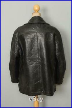 Vtg SCHOTT US NAVY 740N Leather PEA COAT Size Larg