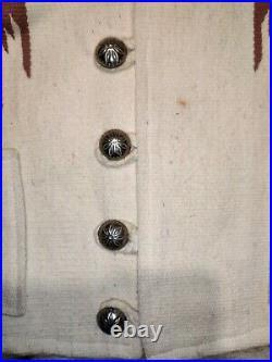 Vtg chimayo americraft stamped size 42 vest blanket native southwest stain