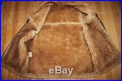 Vtg men 44 Vest Jacket Shearling Sheepskin Suede Mountain Man Fur Traders CA