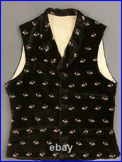 Waistcoat Antique Vest Vtg French Waistcoat Victorian Vest Velvet Velour Pattern