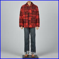 XL 1960s Mens Pendleton Heavy Wool Jacket Red Black Plaid VTG Patch Pocket