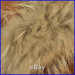 XXL Mens Pelle Pelle Leather Jacket Tan Raccoon Fur Trim Hood Alligator Coat VTG